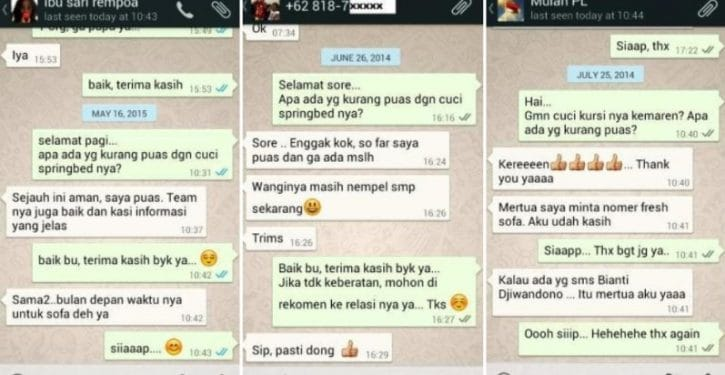 Testimoni Cuci Kasur Bali